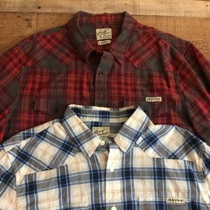 (2) Lucky Brand Western Shirts Plaid Button Down L